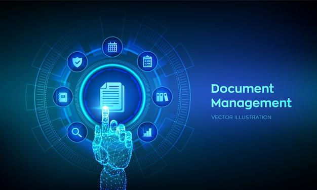Dms. концепция системы управления документами на виртуальном экране. роботизированная рука трогательно цифровой интерфейс. Premium векторы