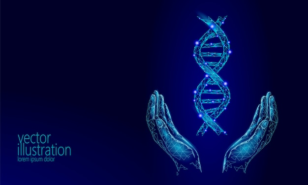 Dna 3d chemical molecule structure hands low poly, polygonal triangle Premium Vector