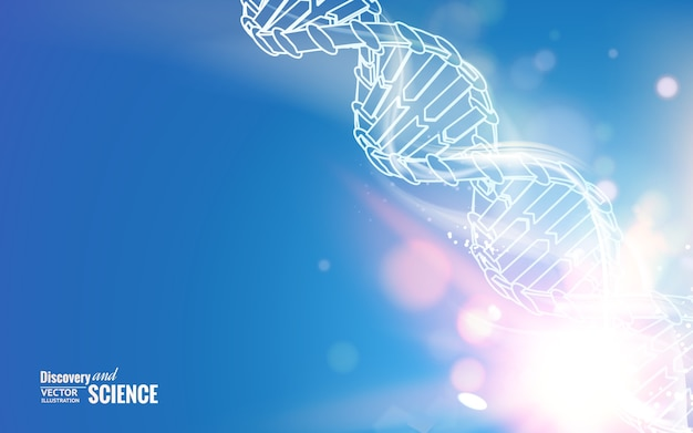 Dna chain on abstract science background. Free Vector