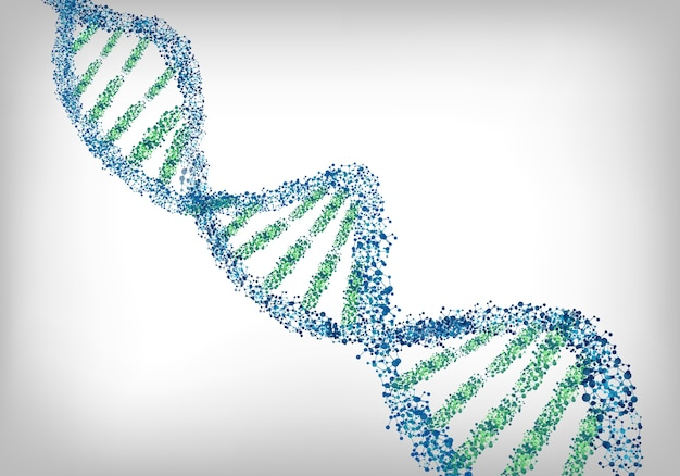 Dna green white background Premium Vector