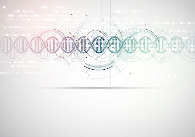 Dna and medical and technology background. futuristic molecule structure presentation Premium Vector