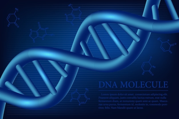 Dna分子の背景。科学的な医療イラスト。 Premiumベクター