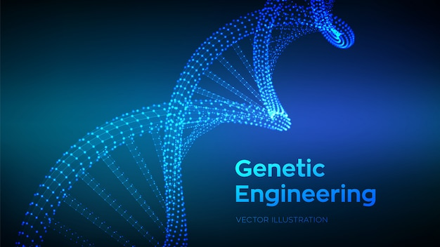 Dna sequence. wireframe dna code molecules structure mesh background Premium Vector