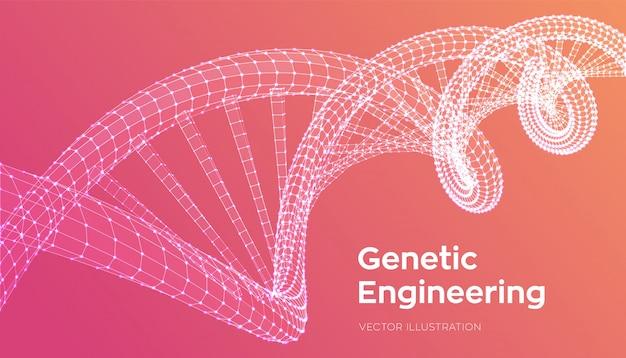 Dna sequence. wireframe dna molecules structure mesh. dna code Premium Vector