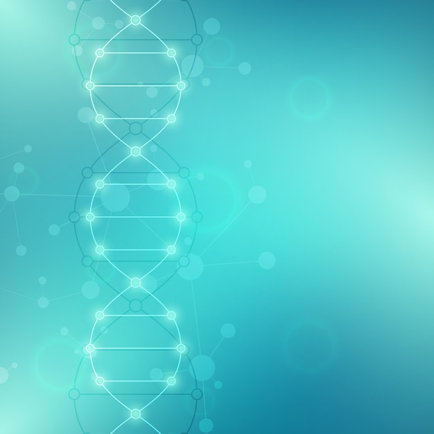 Dna strand background and genetic engineering or laboratory research Premium Vector
