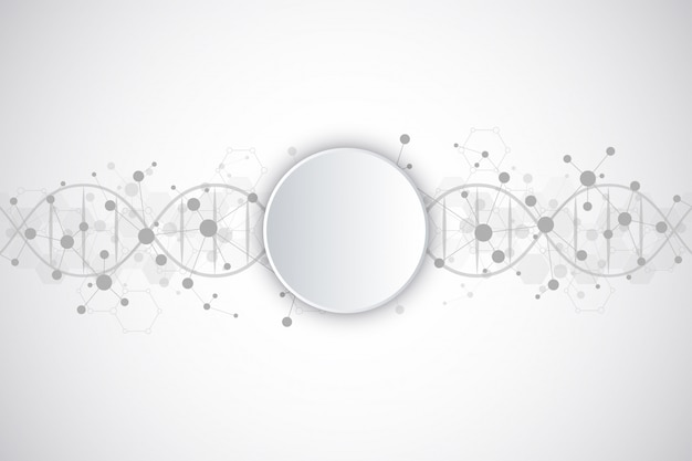 Dna strand and molecular structure. genetic engineering or laboratory research Premium Vector
