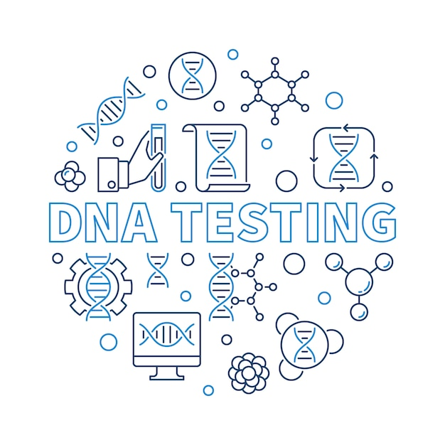 Dna testing vector round creative outline illustration Premium Vector