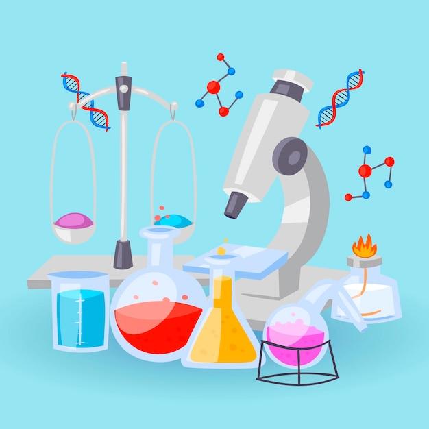 実験用の化学機器。バイアル、顕微鏡、試薬とdna製剤を含む試験管 Premiumベクター