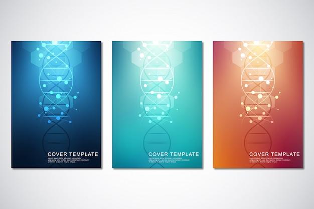 カバーまたはパンフレット、分子背景とdna鎖のベクトルテンプレート。医療または科学および技術。 Premiumベクター