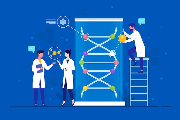 Dna分子を保持しているフラットなデザインの科学者 無料ベクター