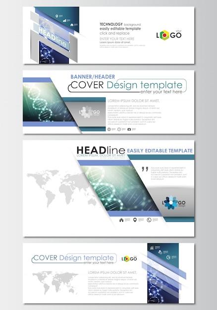 ソーシャルメディアと電子メールのヘッダーセット、バナーテンプレート、カバーデザインテンプレート。 dna分子 Premiumベクター