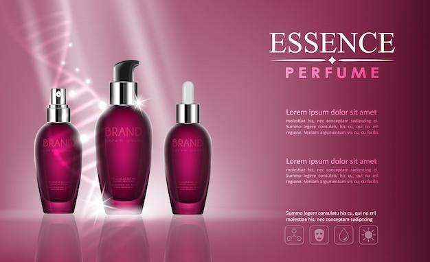 Dna要素を持つベクトルボトル化粧品モックアップ Premiumベクター