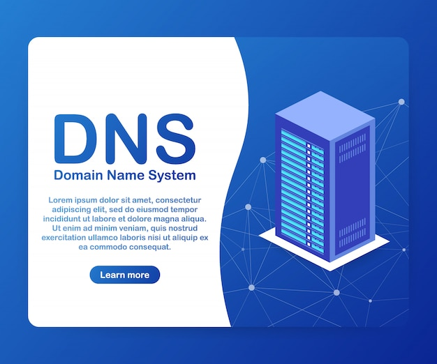 Dns domain name system server. Premium Vector