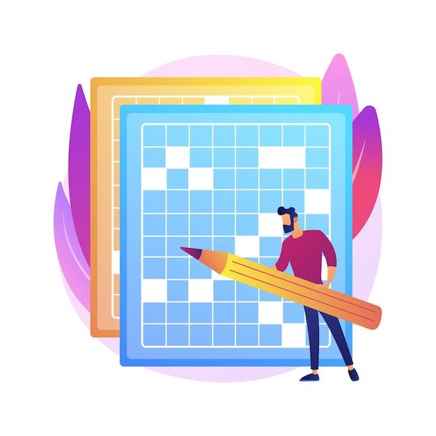 クロスワードパズルと数独の抽象的な概念のイラストを作成します。家にいるゲームやパズルを使い、脳を整え、自己隔離の時間を費やし、レジャー活動を隔離します。 無料ベクター