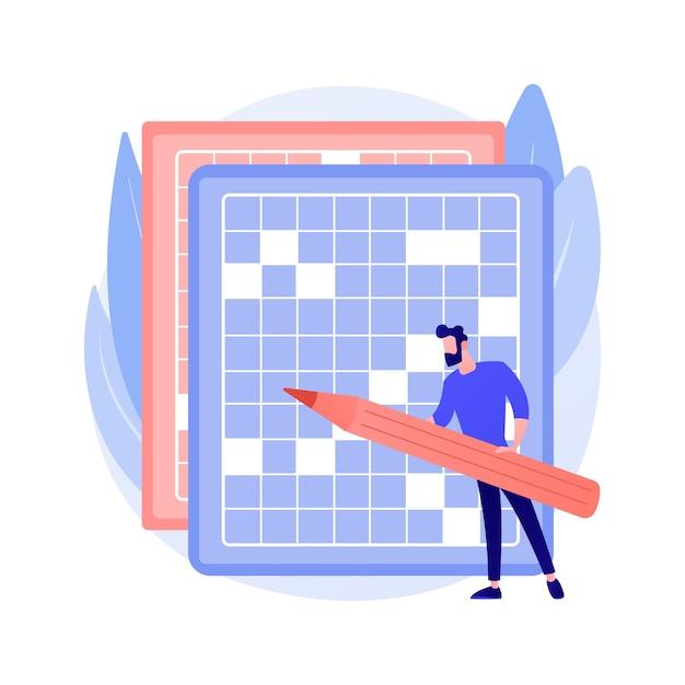 クロスワードパズルと数独の抽象的な概念のベクトル図を行います。外出禁止令やパズル、脳の形を整える、自己隔離の時間を費やす、検疫のレジャー活動の抽象的な比喩。 無料ベクター