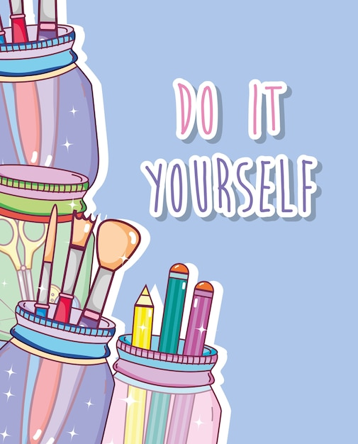 Do it yourself crafts with mason jar concept vector premium download do it yourself crafts with mason jar concept premium vector solutioingenieria Images