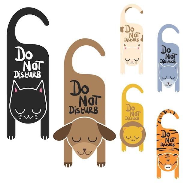 Do not disturb animal signs Premium Vector