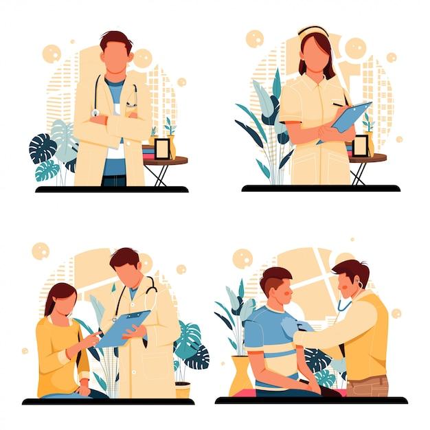 Доктор и медсестра портреты людей персонажей плоский дизайн Premium векторы