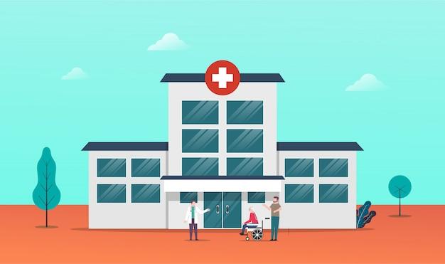 病院訪問のための病院の建物の前で医師と老人患者を訪問します。 Premiumベクター