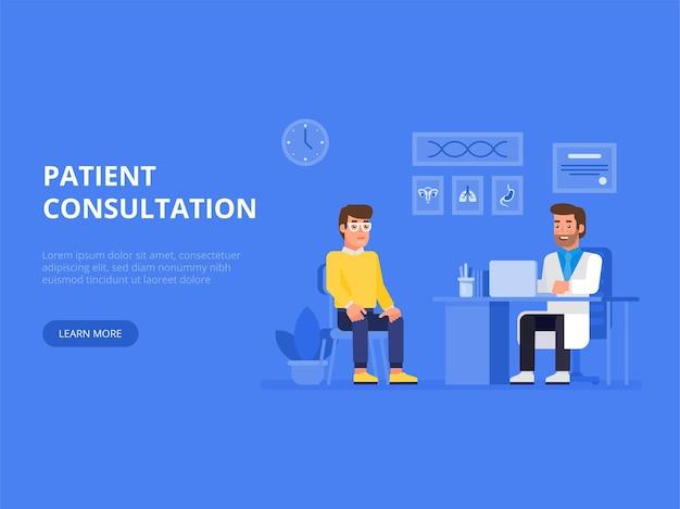 Врач и пациент концепции баннер с персонажами. консультация пациента. Premium векторы