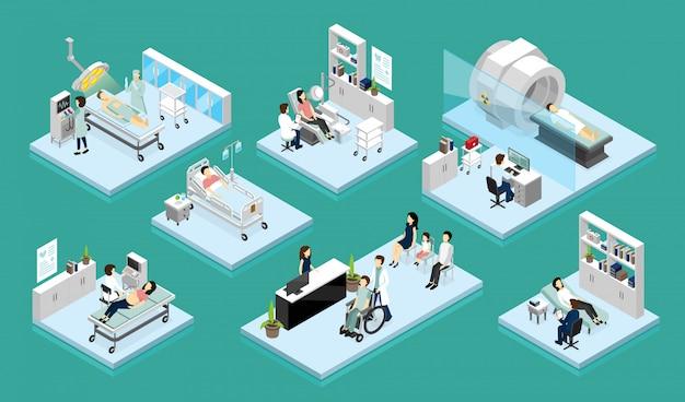 Изометрические композиции доктора и пациента Бесплатные векторы