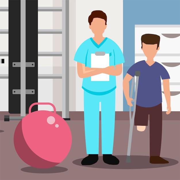 Врач и пациент без одной ноги в реабилитационном центре Premium векторы