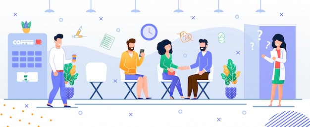 Doctor appointment turn hospital.  flat Premium Vector