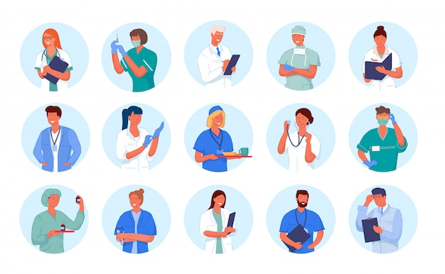 Doctor avatar. medicine employee character portrait. doctor and nurse round avatar set isolated. Premium Vector