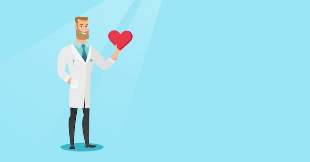 Doctor cardiologist holding heart. Premium Vector