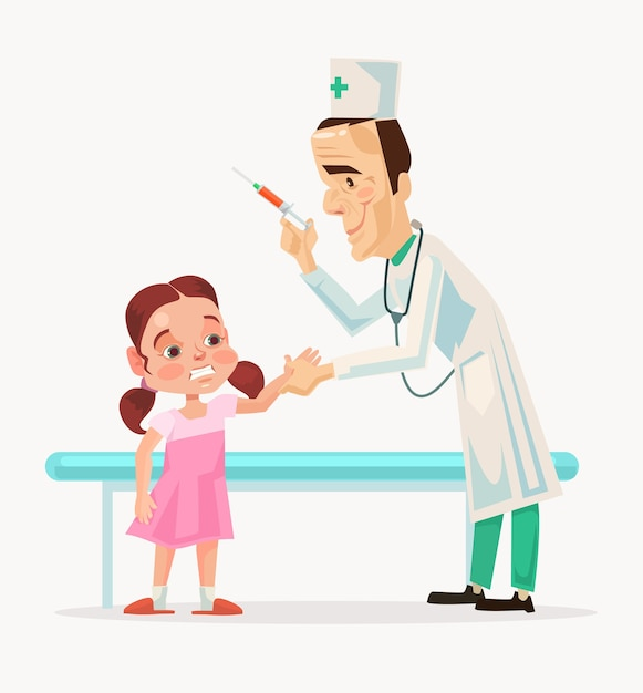 Доктор персонаж испугался, делая прививку детскому персонажу. Premium векторы
