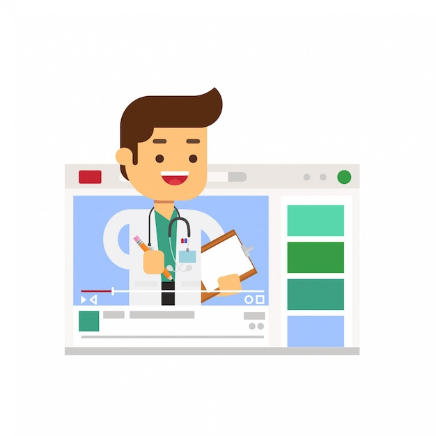 Doctor character sharing heal experience through vlog Premium Vector