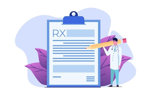 Доктор персонаж, написание формы рецепта rx. концепция онлайн-клиники. Premium векторы