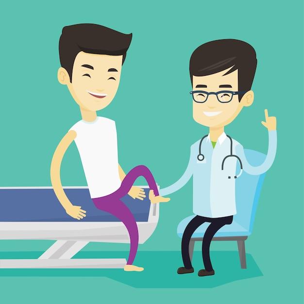 Доктор, проверка лодыжки пациента. Premium векторы