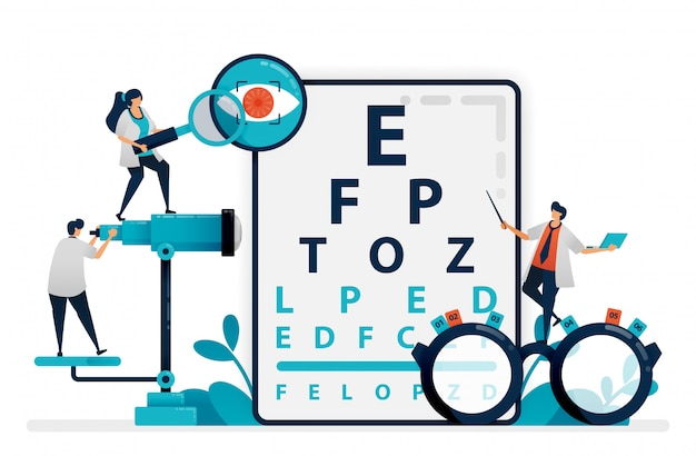 Doctor checks patient eyes health with snellen chart, glasses for eye disease. eye clinic or optical eyewear store. vector illustration, graphic design Premium Vector
