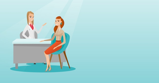 Doctor consulting female patient in office. Premium Vector