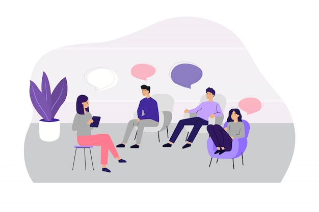 Doctor counseling people at group therapy Free Vector