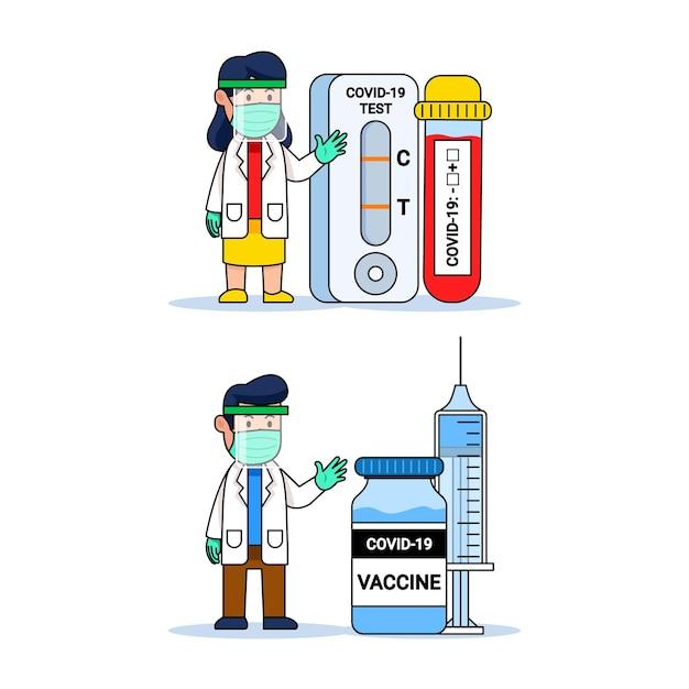 Covid診断ツールとワクチンボトルと医者かわいい漫画のキャラクター Premiumベクター