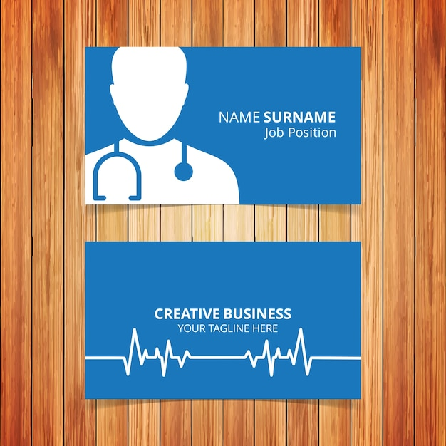 Doctor Dark Blue Business Card Free Vector