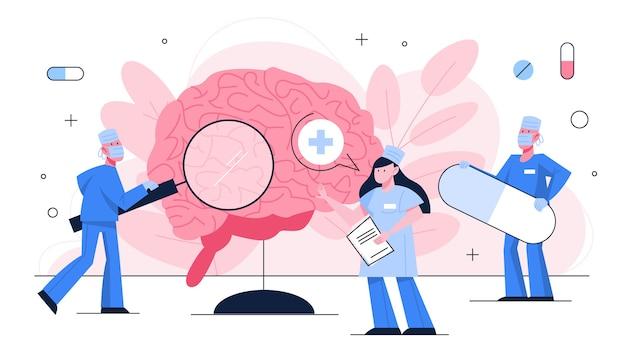 Hình ảnh bác sĩ kiểm tra bộ não khổng lồ. ý tưởng về điều trị y tế và chăm sóc sức khỏe. trị đau đầu và đau nửa đầu. minh họa theo phong cách Vector cao cấp