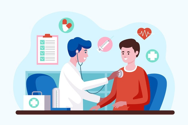 Doctor examining a patient at the clinic illustrated Free Vector