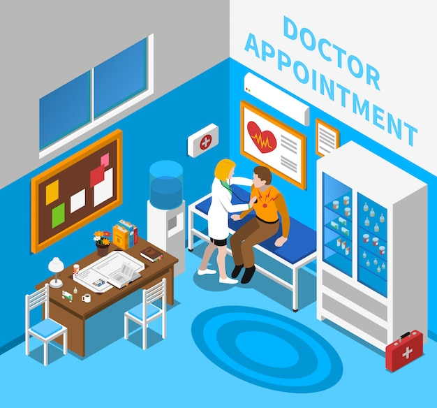 Doctor examining patient isometric poster Free Vector