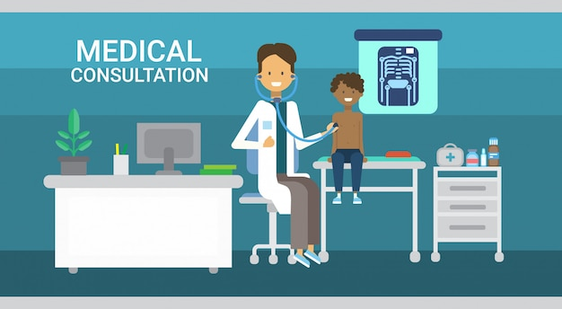 Doctor examining patient medical consultation health care clinics hospital service medicine banner Premium Vector