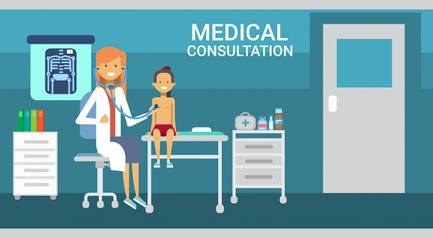 Doctor examining patient medical consultation health care clinics hospital service medicine banner Premium Vector
