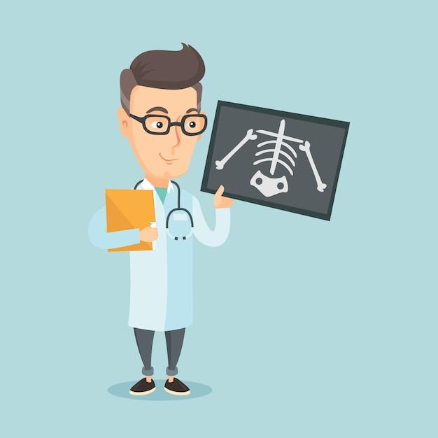 Doctor examining radiograph vector illustration. Premium Vector