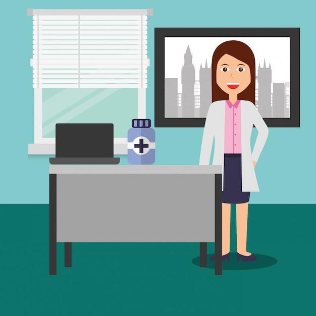 Doctor female in consulting room desk laptop medicine bottle Premium Vector