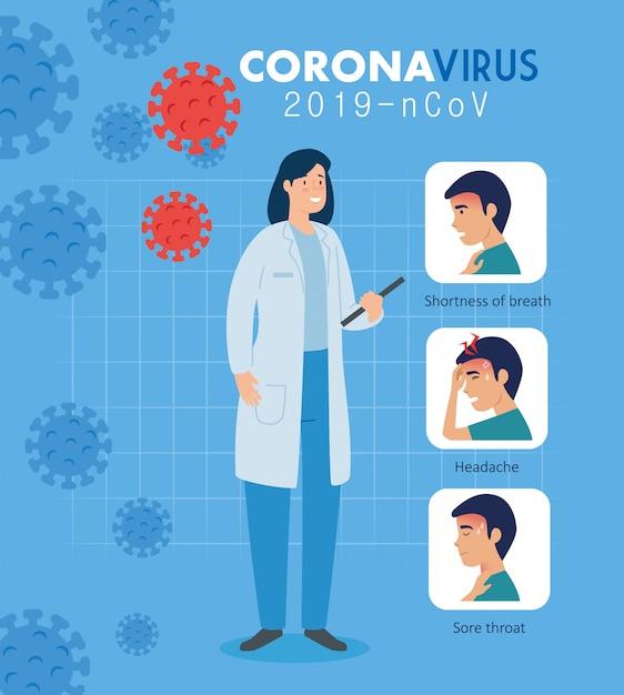 症状のキャンペーンを持つ医師の女性コロナウイルス2019 ncov Premiumベクター