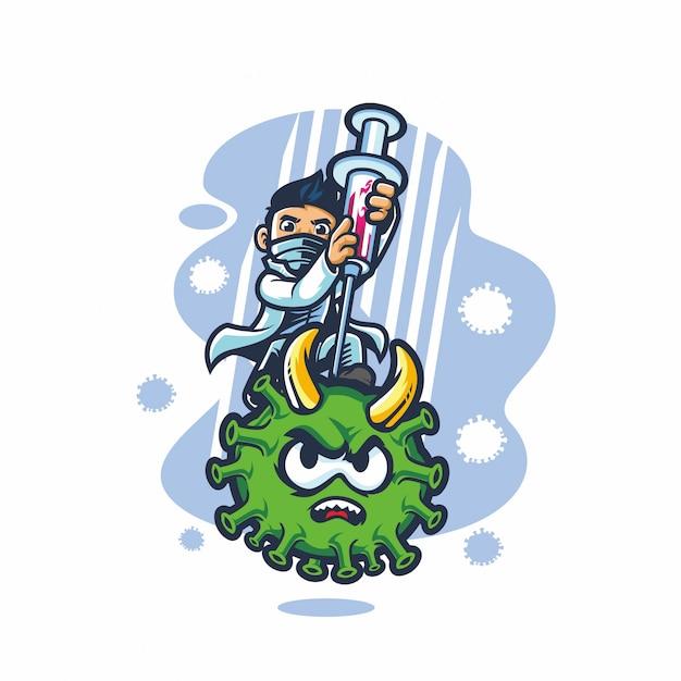医者の戦いコロナウイルスベクトル漫画 Premiumベクター