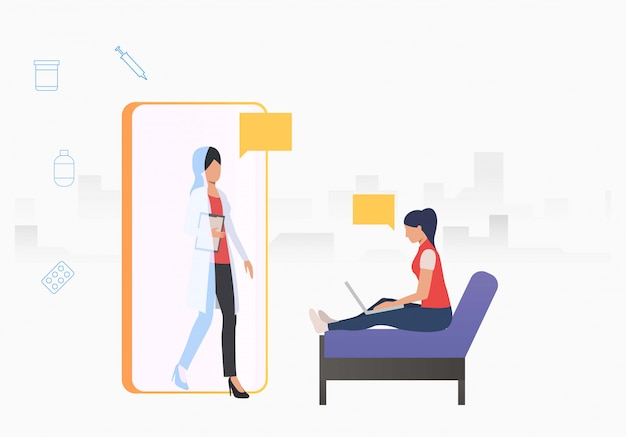 Doctor going out of mobile phone to woman using laptop Free Vector