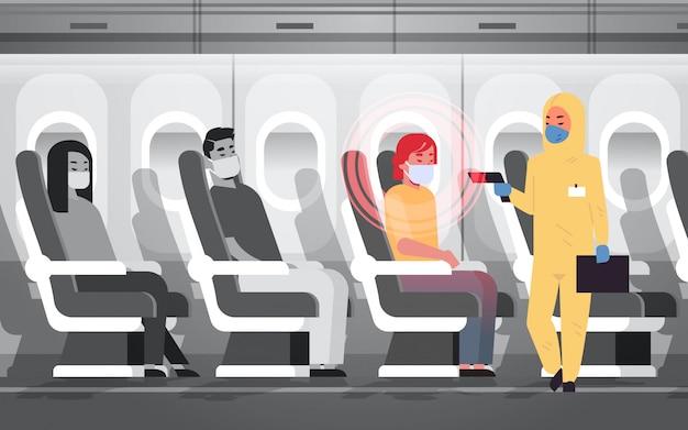 Doctor in hazmat suit checking airplane passengers for epidemic  virus symptoms wuhan coronavirus  pandemic medical health risk concept plane interior horizontal Premium Vector