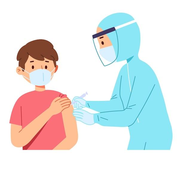 L'operatore sanitario del medico aiuta a iniettare la siringa del vaccino corona covid al paziente Vettore gratuito